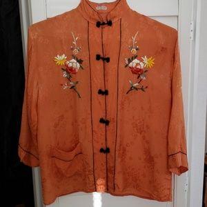 Vintage 1950's/60's Mandarin style collar top